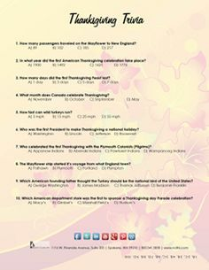 FREE Printable Thanksgiving Trivia Quiz... Fun to set at the table place settings