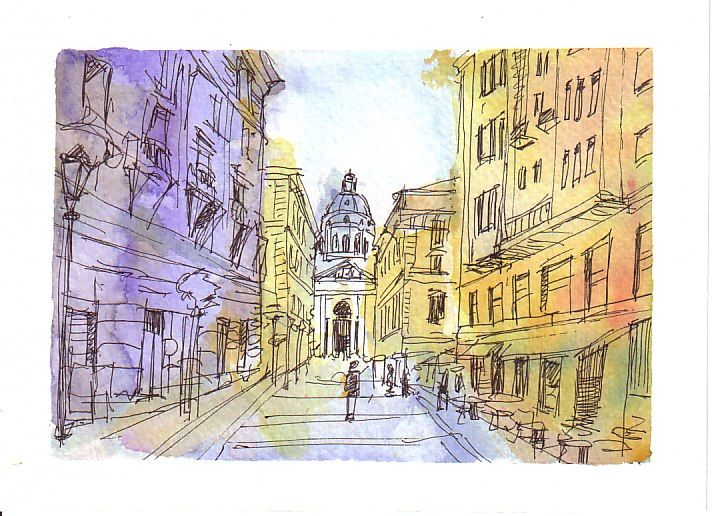 Budapest watercolor & ink