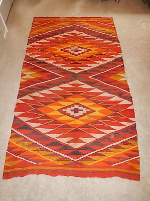 Antique-Native-American-Navajo-Transitional-Blanket-Rug