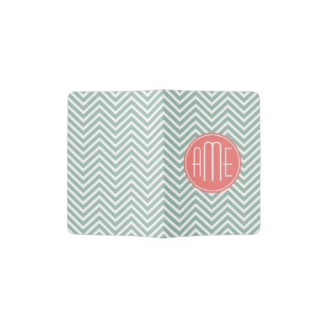 Mint and Coral Chevrons Custom Monogram Passport Holder #chevron #pattern #accessories