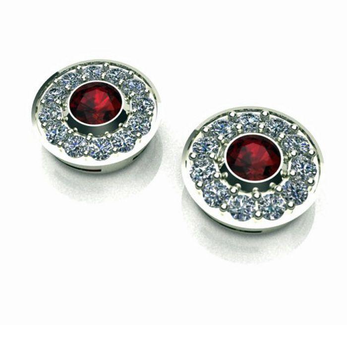 Halo Earring Garnet