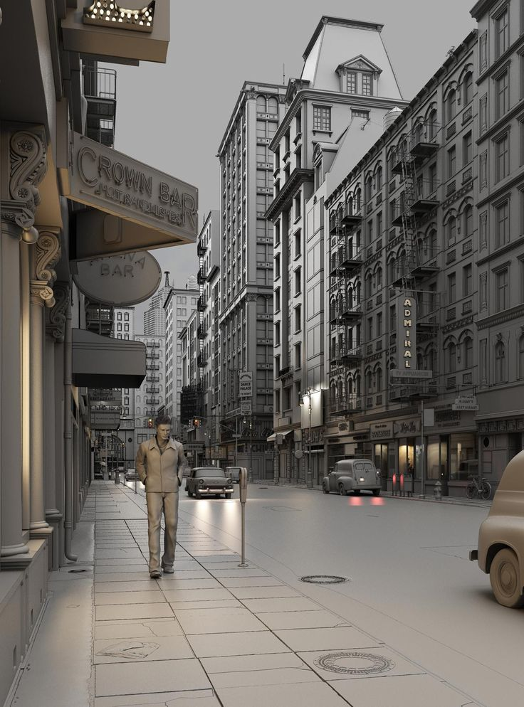 Title: Neon City - Clay render  Name: Dennis Kaya Iversholt  Country: Denmark  Software: 3ds max, Photoshop, VRay