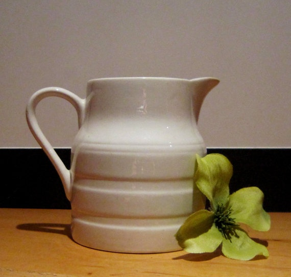 Mid Century Kitchen Island White English Pottery Pitcher, Lord Nelson Pottery