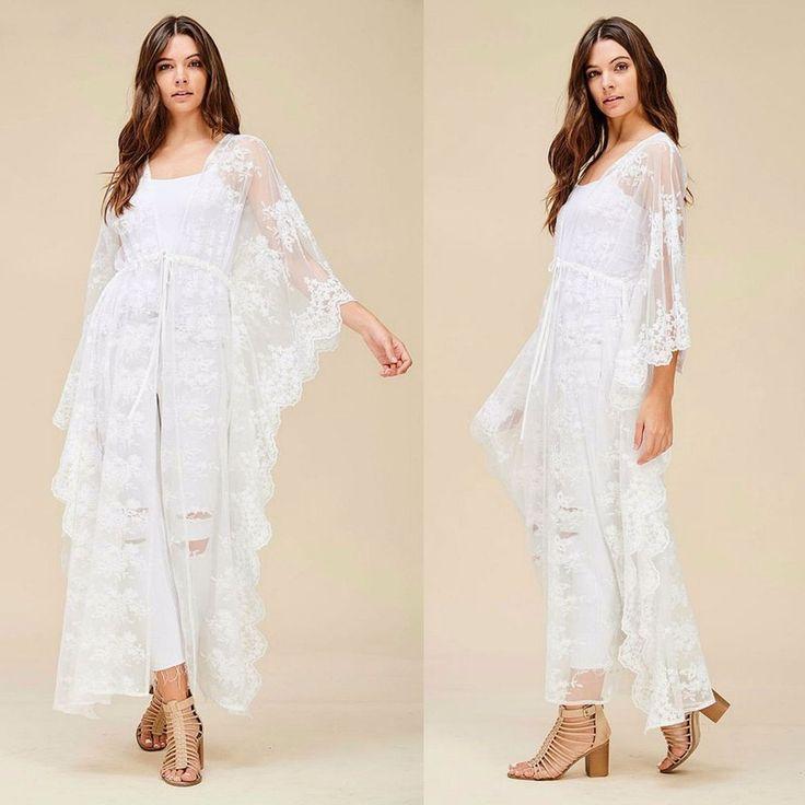 Bohemian Crochet Lace Long Sleeve Maxi Kimono Duster