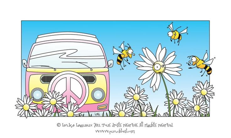 Fifille la Westfalia, Miss Marguerite et les trois abeilles qui Punch l'Oeil, par l'artiste-illustratrice Lenka Lagueux.