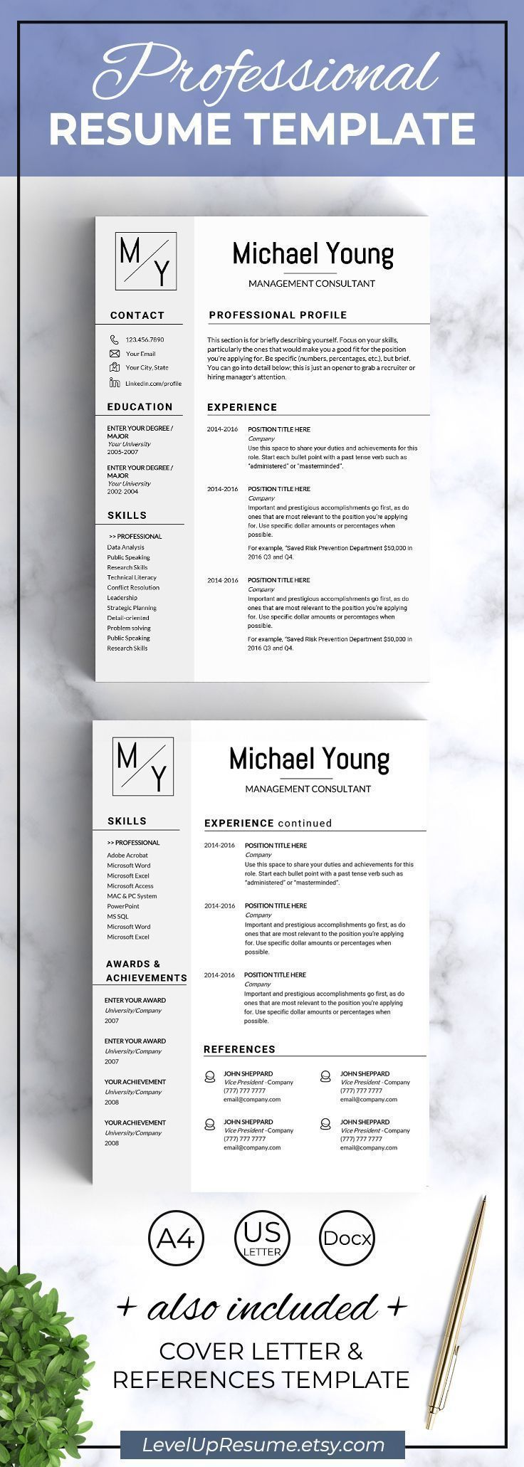 Modern resume template for MS Word. Professional resume design. Career advice. Job search. Get hired! Click on the link or save the pin to your board >>>>> #career #job #resume #resumetemplate #girlboss #successfulwomen
