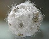 Bridal Feather Bouquet - Brooch Bouquet - White Fabric Bouquet Brooch bouquet with feather, Unique Wedding Bridal Bouquet