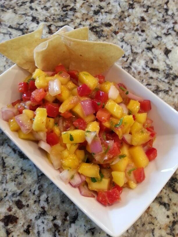 mango salsa Mango, red onion, fresh hot chile pepper, red bell pepper ...