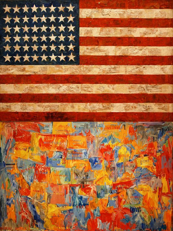 "I studied Jasper Johns in school. I  don't love all his work but some of it is amazing. And he said something wonderful once 'art is much less important than life. But what a poor life without it."" http://www.mountainsoftravelphotos.com/USA%2520-%2520New%2520York%2520City/MOMA%2520Top%252020/slides/MOMA%252016%2520Jasper%2520Johns%2520Flag%2520and%2520Map.jpg"