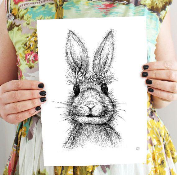 Bunny Rabbit - art print-  childrens art - Daisy Chain - Digital copy of etching on Etsy, $20.00 AUD