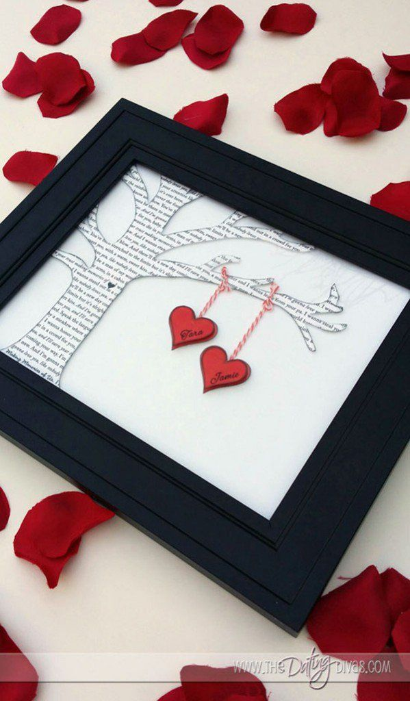 """Two Little Lovers Sitting In A Tree"""" Décor - This one might need a bit of your artistic side. Take an unused frame then create a tree from a page of your partner's fave book or a copy of their favorite poem. You can then tie your heart shaped cutouts with both your names. Secure everything with a glue if you want."""