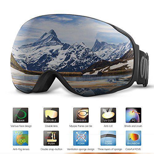 Lunettes de Ski, OUTAD Masques Snowboard de Protection avec UV 400, Ski Goggles Coupe-Vent, Lentilles Antiéblouissant & Anti-poussière &…