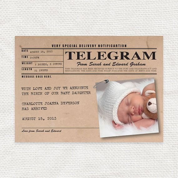 baby birth announcement vintage telegram style printable new baby girl or boy personalized