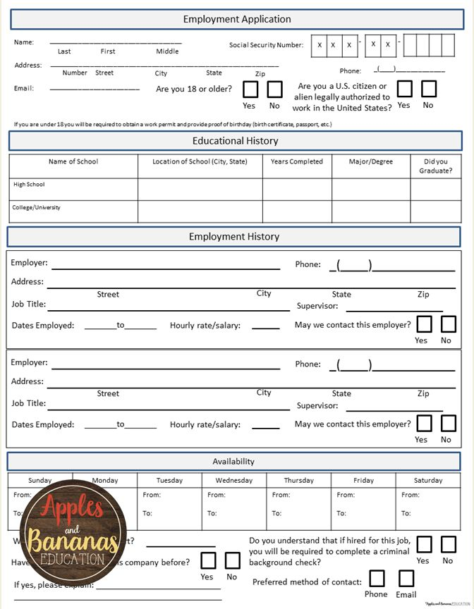Fake job application, great practice for high school students looking for their first job.  Also includes practice with cover letters, résumés, and interviewing skills.