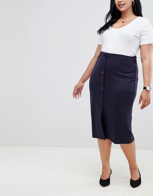 eeebc0bfe04f ASOS Curve | ASOS DESIGN Curve ponte button front pencil skirt Plus Size  Pencil Skirt,