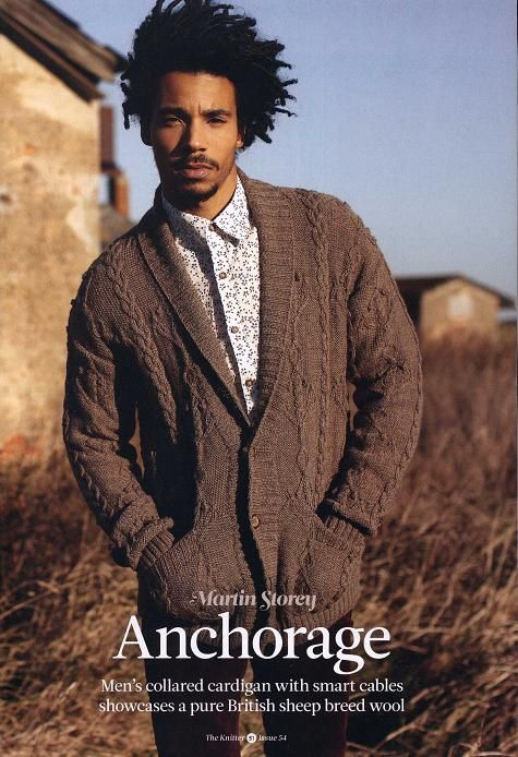"""Free knitting pattern """"Men's cardigan with collar"""" This collared cardigan with its streamlined cables and deep pockets, designed by Martin Storey, is the kind relaxed, classic garment that men love to wear and which never date.Martin has knitted his cardigan using Rowan's Purelife British Sheep Breeds yarn, which shows off the beauty of undyed wool …"""
