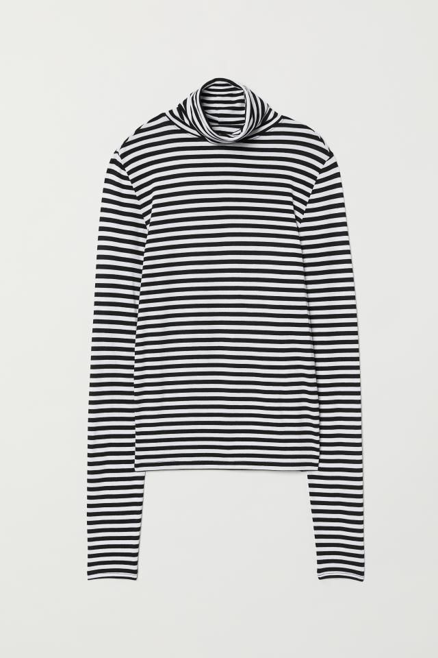 082bcd3579749 Jersey polo-neck top - Black White striped - Ladies