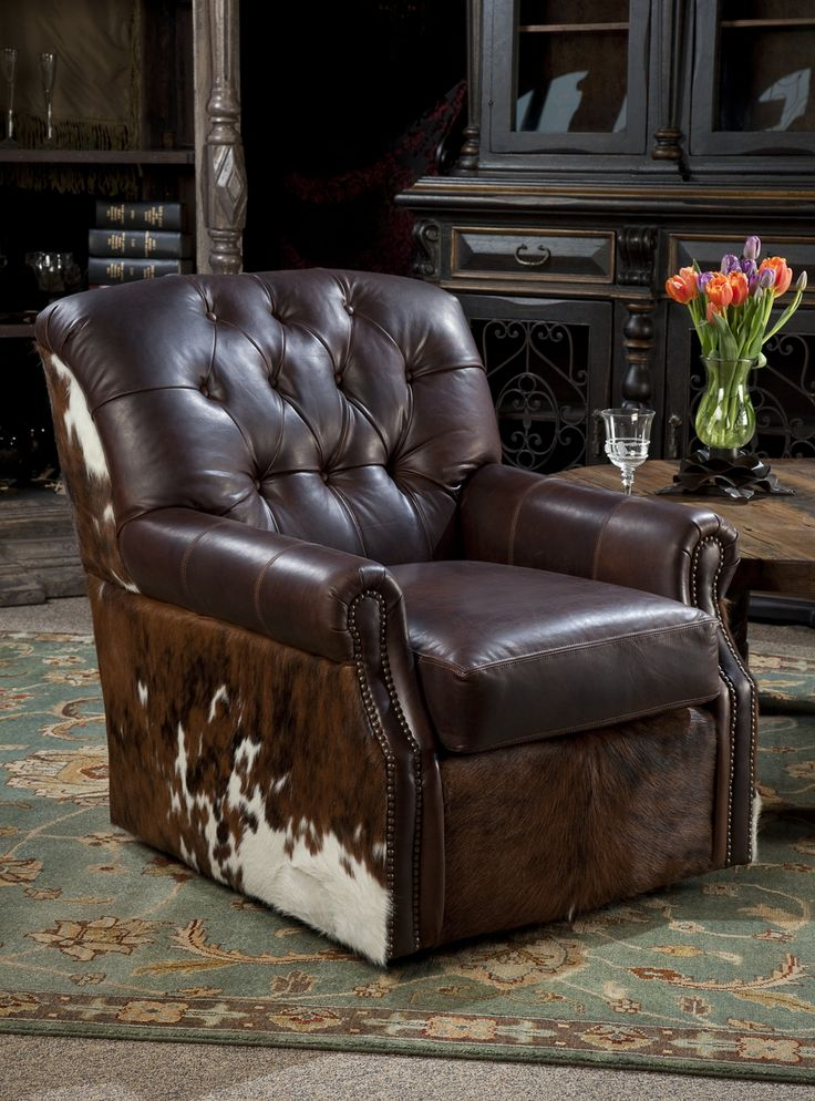 Leather Swivel Chair With Cowhide Brumbaugh S Fine Home