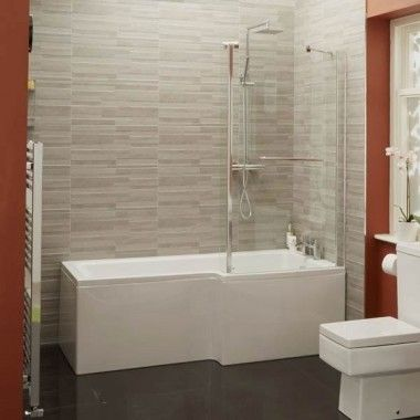 1700mm Verona Right Hand Shower Bath and Hinged Screen with Towel Rail