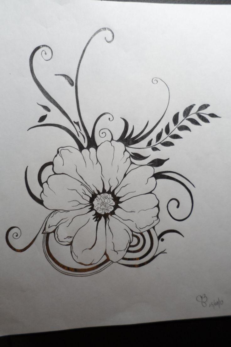 Fleur au crayon plomb dessins pinterest crayons - Dessin de fleur en noir et blanc ...