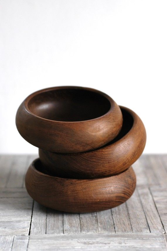 Wood bowls or incense cone holders with middle bump to hold a cone