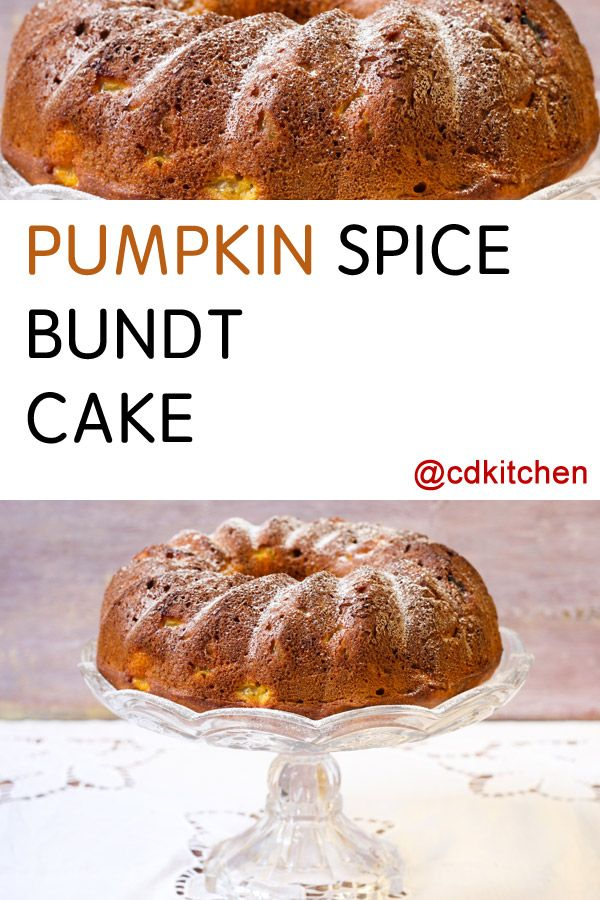 Made with pecans or walnuts, spice cake mix, pumpkin, oil, vanilla instant pudding mix, eggs, cinnamon, water | CDKitchen.com