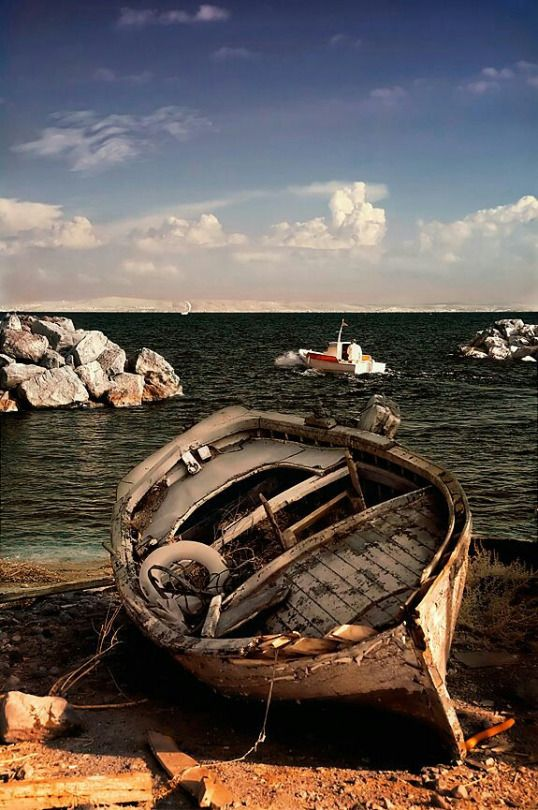 Old wooden boat, beach, cloudy, clouds, rocks, water, beauty of Nature, peaceful, silence, weathered, cracks, abandoned