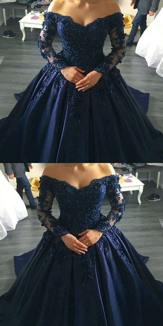 5a0597d3b9277 midnight blue prom dresses ball gowns lace long sleeves,off the shoulder prom  dress,ball gowns wedding dress,navy blue wedding dresses