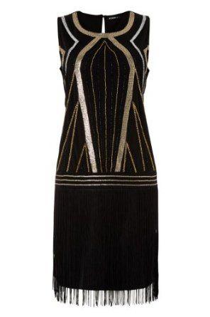 art deco clothing women | Roman Originals - Womens Dresses Art Deco Beaded Embellished Flapper ...