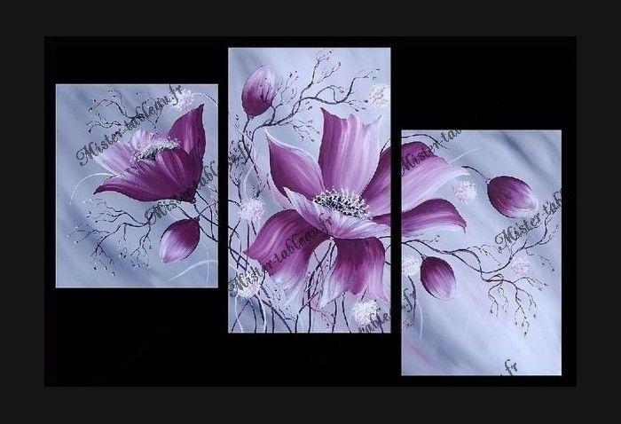 tableau fleur | Tableau fleurs Charming Flowers : toile triptyque fleurs