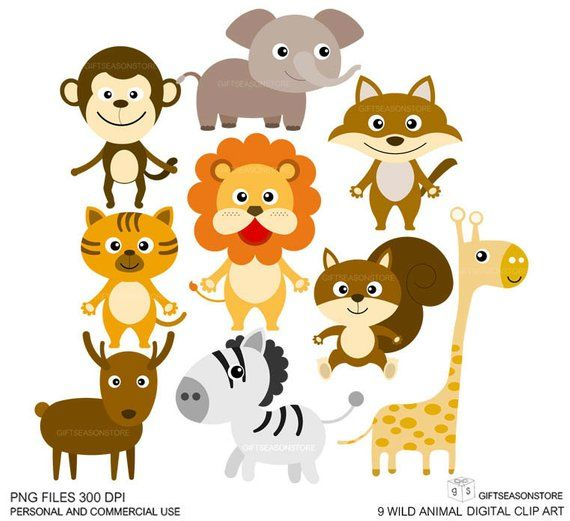 9 Wild Animal Clip Art Digital Clip Art For Personal And Commercial Use Instant Download Clipart Animales Clase De Espanol