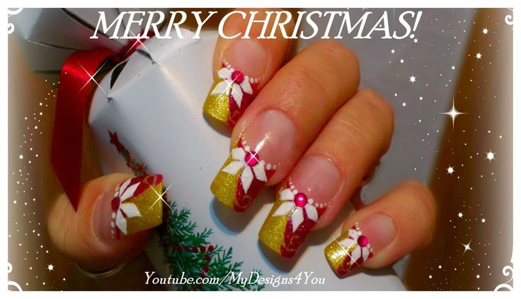 PINK AND GOLD CHRISTMAS NAIL ART WITH POINSETTIA, TUTORIAL, HOW TO - ♥ M...