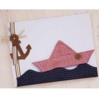 Χειροποίητο Βιβλίο κόκκινο καραβάκι πάνω στα κύματα. βιβλίο ευχών στολισμένο με πάνινο καράβι πάνω σε πάνινα κύματα #vivlioeuxon #euxologio