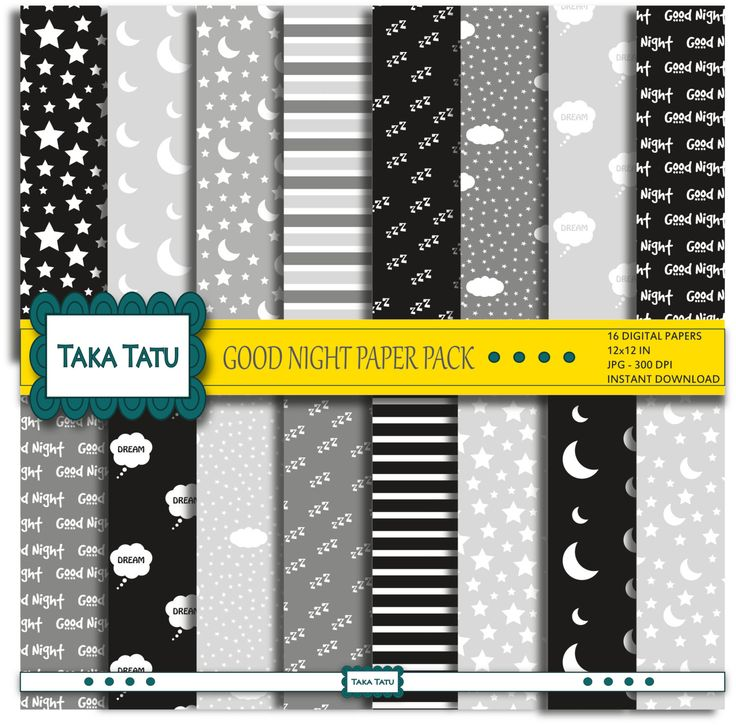 Good Night Digital Paper Pack - Black White and Grey/ Scrapbook Paper / Printable / Patterned Background / Moon and Stars - Instant Download by TakaTatu on Etsy https://www.etsy.com/listing/232601851/good-night-digital-paper-pack-black