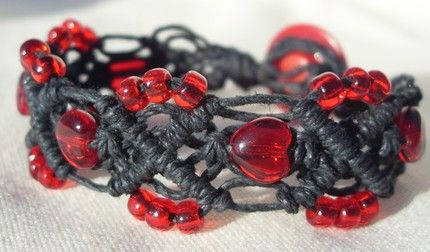 hemp jewelry patterns | bleeding heart hemp bracelet by ~HempLady4u on deviantART