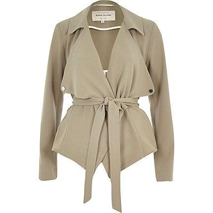 Khaki cropped drape trench jacket $120.00