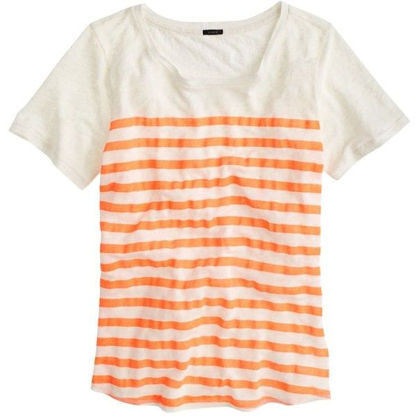 J Crew J.Crew Linen striped T-shirt ($45) ❤ liked on Polyvore featuring tops, t-shirts, shirts, tees, striped t shirt, j crew t shirts, loose shirts, t shirts and striped shirt