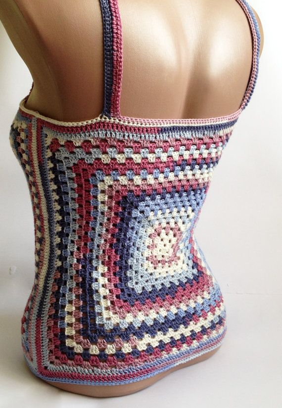 Granny square crochet top/ Festival hippie crochet top/ Gypsy chic/ Beach crochet top/ Crochet Sexy Top/ Bohemian top/ Crochet Crop top