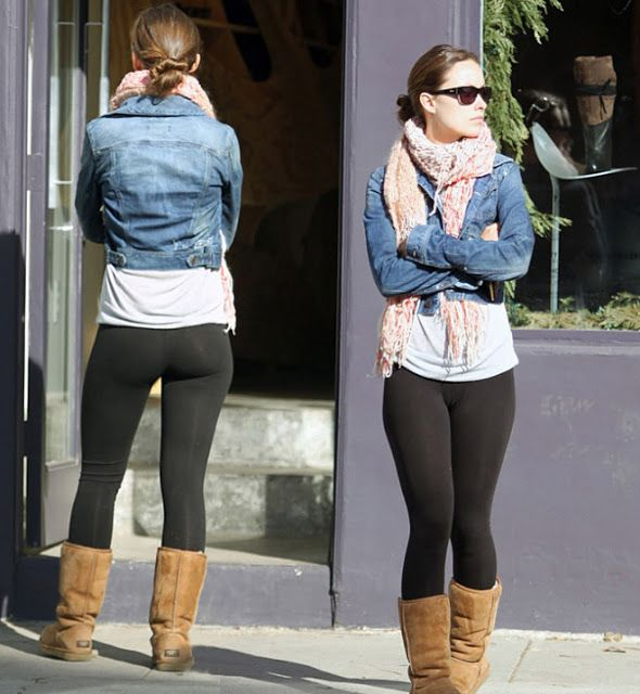 with jean jacket and scarf but need longer top leggings with ugg