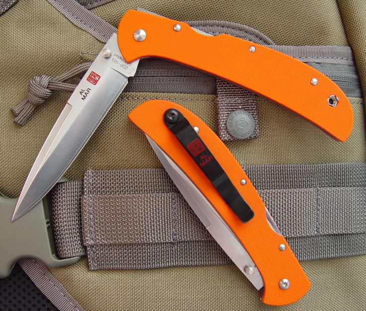 "Al Mar Eagle HD ""Heavy Duty"" - Orange G-10 Scales - ZDP-189 Laminted Talon Plain Edge Blade - CUTLERY SHOPPE EXCLUSIVE"