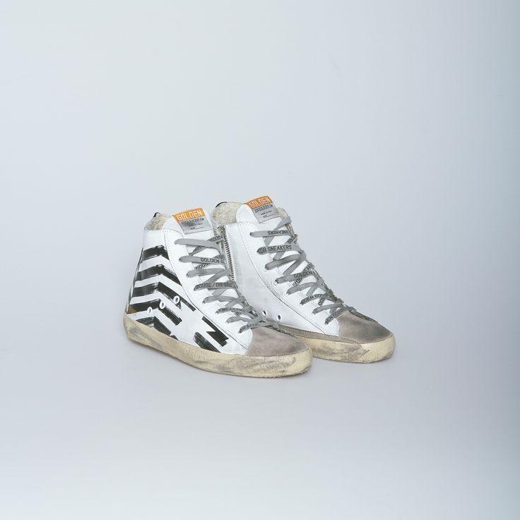 Golden Goose Francy High Top Sneaker in White Leather/Flag | Atrium