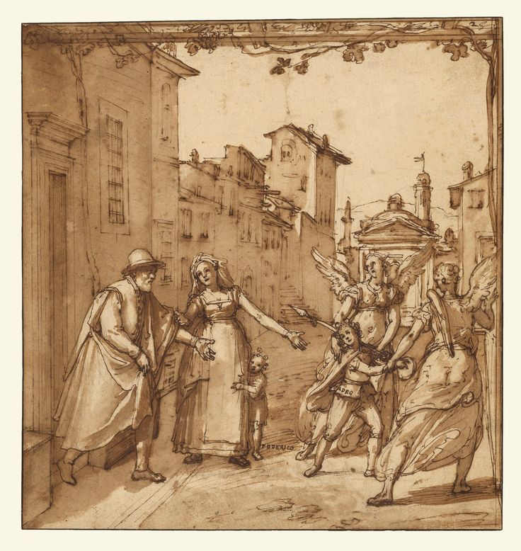 Federico Zuccaro (Federico Zuccari), c.1540/1541-1609, Italian, Taddeo Leaving Home Escorted by Two Guardian Angels, c.1595.  Pen and brown ink, brush with brown wash, over black chalk and touches of red chalk, 27.4 x 26 cm.  J. Paul Getty Museum, Los Angeles.  Mannerism.