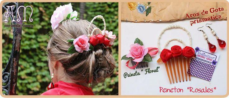 """Seguimos Creando! Seguimos haciendo! Seguimos pensando en nuestro propio estilo Flamenco  Peineton """"Rosales"""" flores de raso gigantes con ornamenta de perlas. Aros de gota prismática con perlas en juego y Peineta """"Floral"""" Rosa pequeña con hojas y cinta de raso.  Todo Realizado Artesanalmente por AmapolasMoras A pedido del color que quieras. amapolasmoras@gmail.com"""