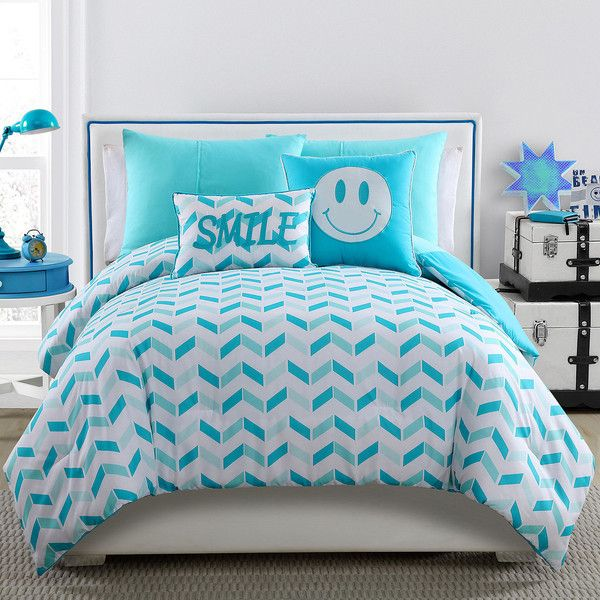 Victoria Classics Hotel Comforter Set ($84) ❤ liked on Polyvore featuring home, bed & bath, bedding, comforters, twin bed linens, turquoise pillow shams, peace bedding, turquoise comforter and twin comforter sets