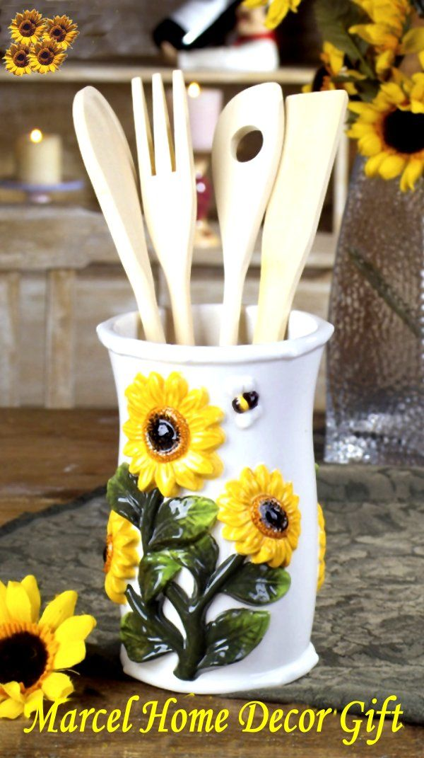 sunflower kitchen decor | Kitchen Tool and Holder Sunflower country decor