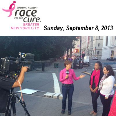 Naomi Cunningham and Angelica Medina, breast health educators from the Sisters United in Health/Hermanas Unidas en la Salud initiative attended the Komen Greater NYC Race for the Cure on Sunday, September 8th and were interviewed by Dana Tyler of CBS2.
