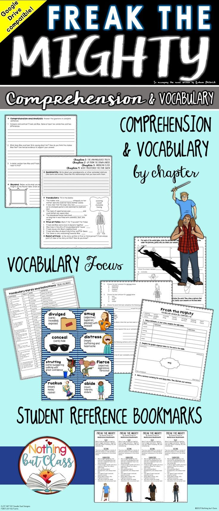 Freak The Mighty Comprehension And Vocabulary By Chapter Distance Learning Freak The Mighty Reading Response Activities Vocabulary