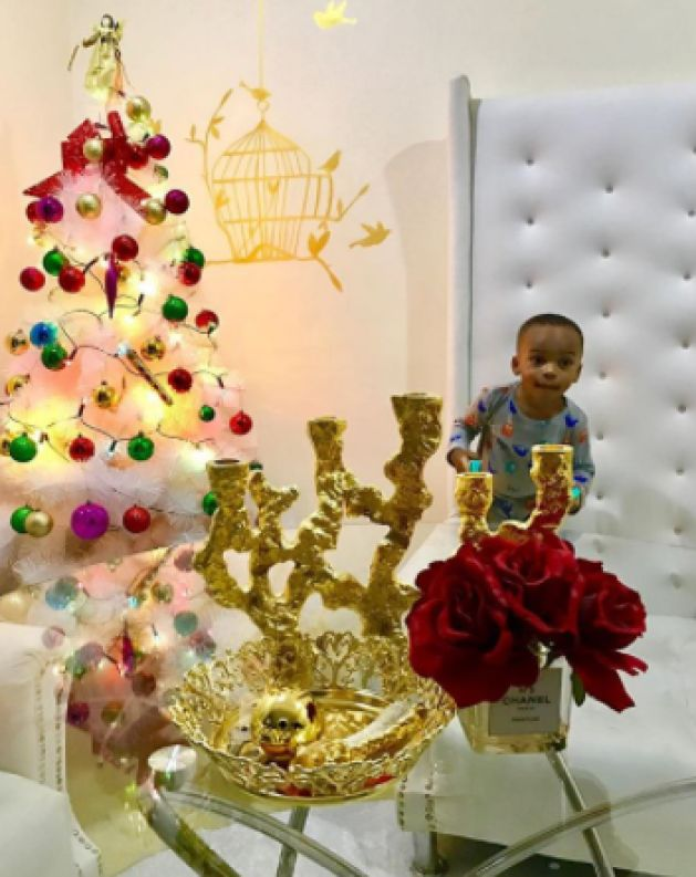 Tonto Dikeh And Her Son Join Hands Decorate Their Christmas Tree At Home (Photos)