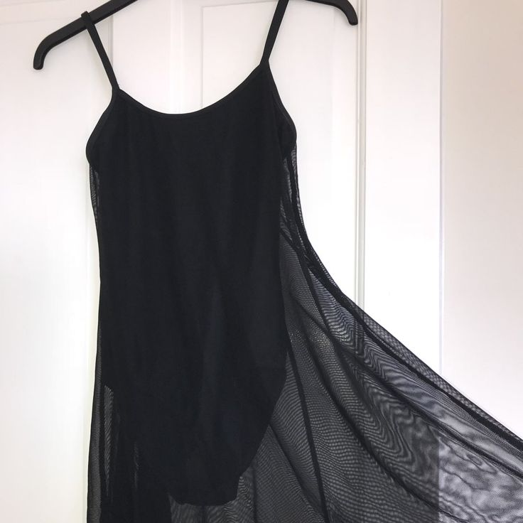 48672b9fc14840 Black dance leotard dress with mesh. Cute dance dress