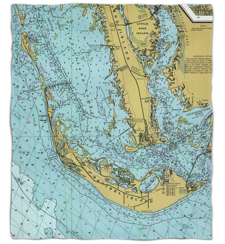 FL: Sanibel Island & Pine Island, FL Nautical Chart Fleece Throw Blanket